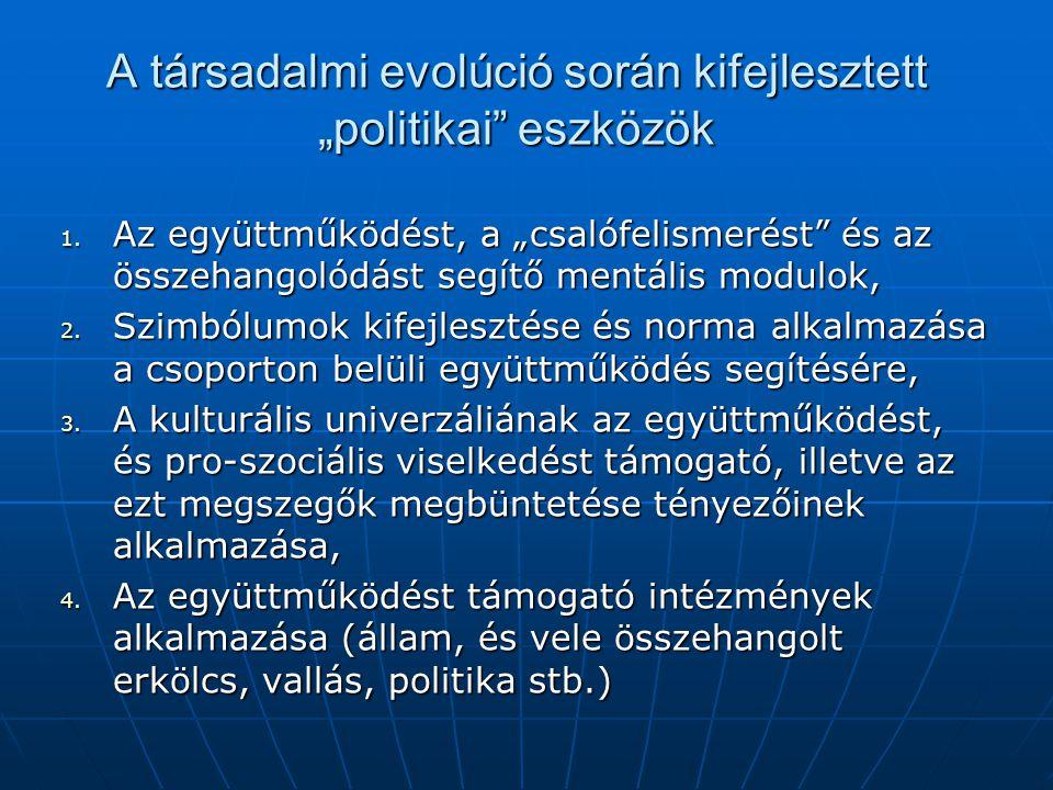 """A társadalmi evolúció során kifejlesztett """"politikai"""" eszközök 1. Az együttműködést, a """"csalófelismerést"""" és az összehangolódást segítő mentális modul"""