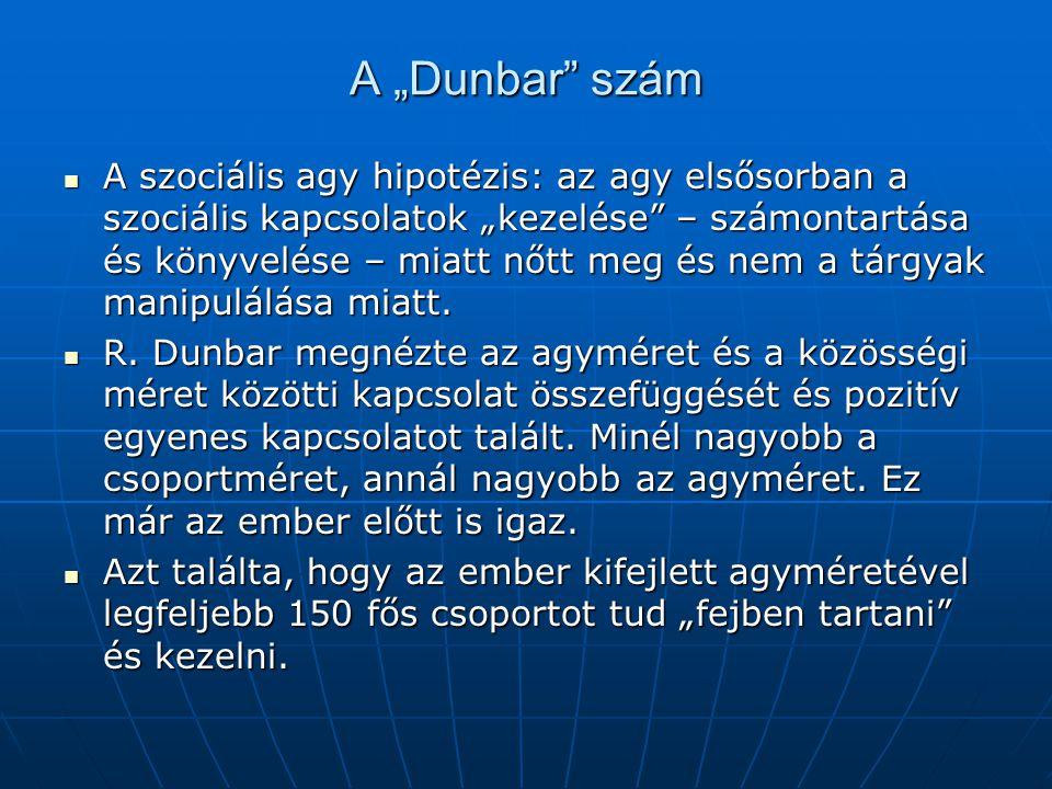 """A """"Dunbar"""" szám A szociális agy hipotézis: az agy elsősorban a szociális kapcsolatok """"kezelése"""" – számontartása és könyvelése – miatt nőtt meg és nem"""
