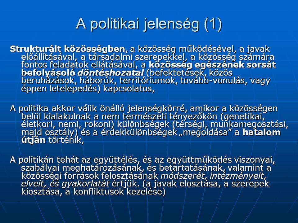 A politikai jelenség (1) Strukturált közösségben, a közösség működésével, a javak előállításával, a társadalmi szerepekkel, a közösség számára fontos