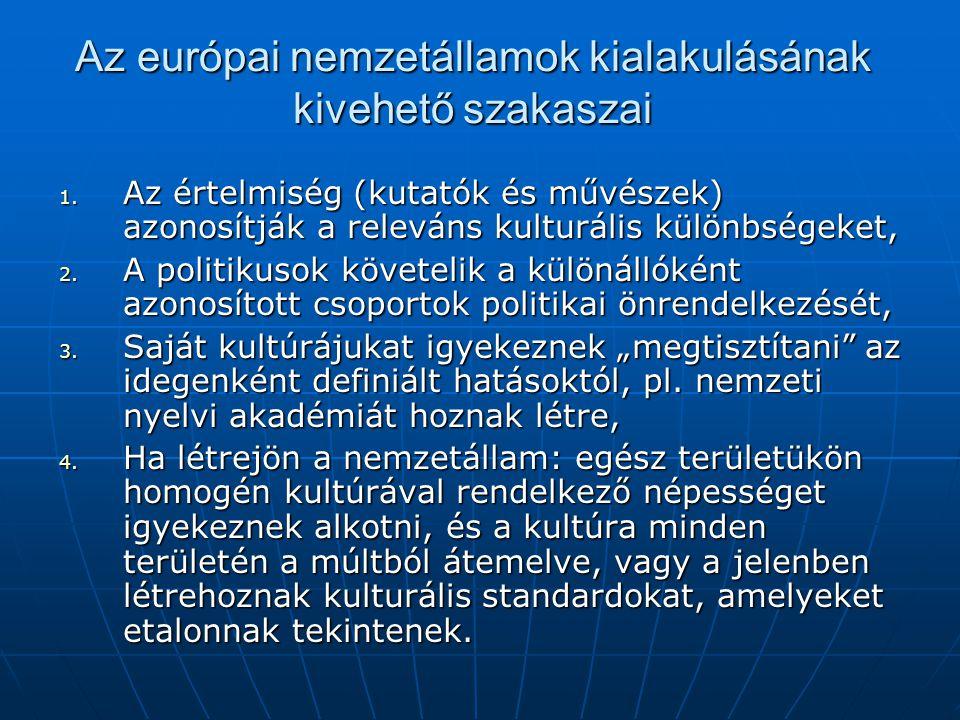 Az európai nemzetállamok kialakulásának kivehető szakaszai 1. Az értelmiség (kutatók és művészek) azonosítják a releváns kulturális különbségeket, 2.