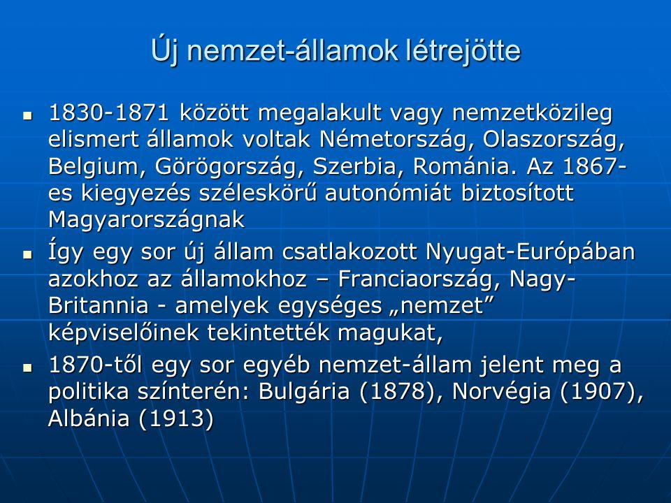 Új nemzet-államok létrejötte 1830-1871 között megalakult vagy nemzetközileg elismert államok voltak Németország, Olaszország, Belgium, Görögország, Sz