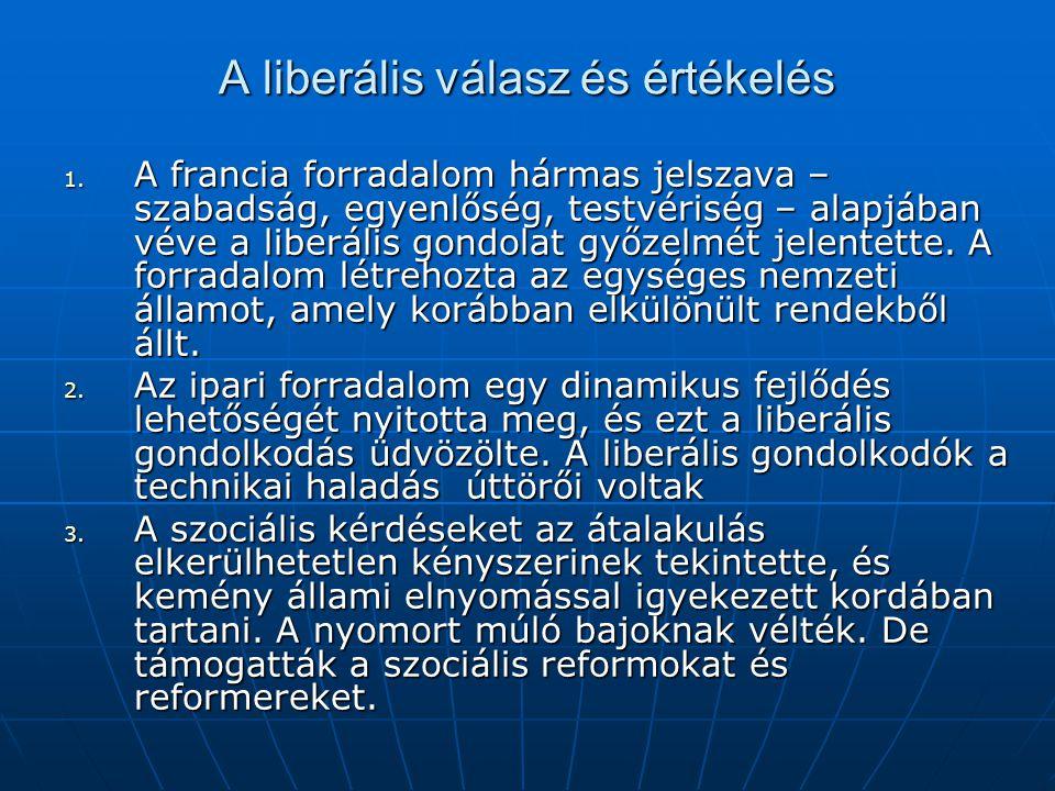 A liberális válasz és értékelés 1. A francia forradalom hármas jelszava – szabadság, egyenlőség, testvériség – alapjában véve a liberális gondolat győ