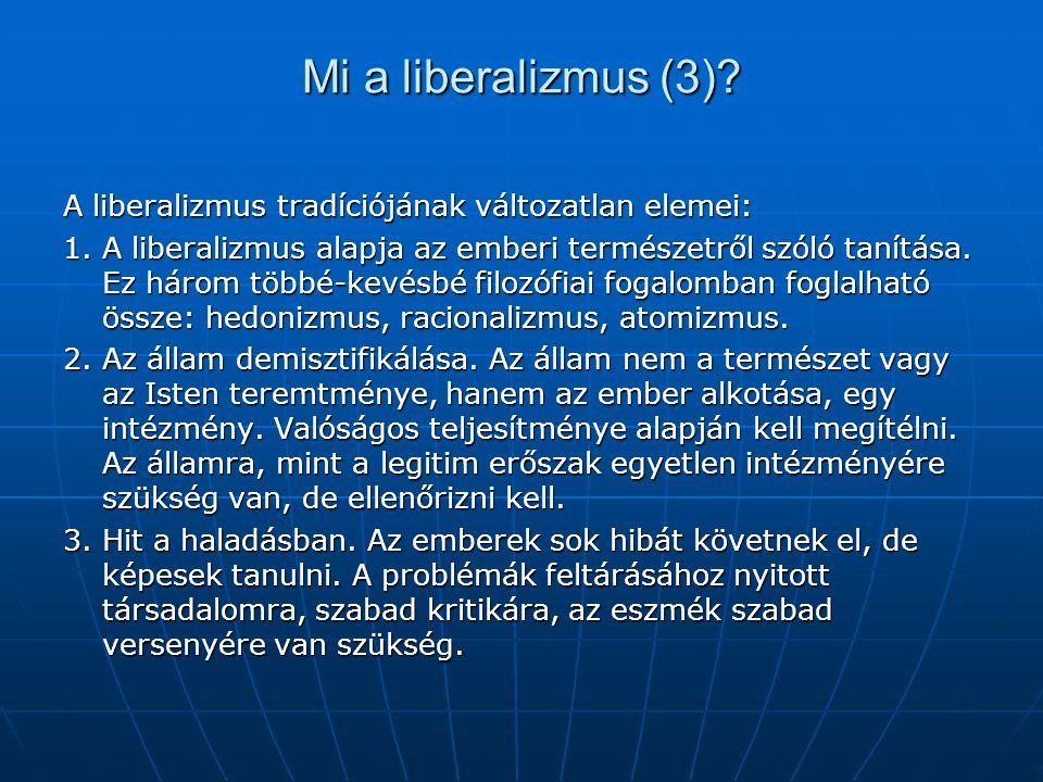 Mi a liberalizmus (3)? A liberalizmus tradíciójának változatlan elemei: 1. A liberalizmus alapja az emberi természetről szóló tanítása. Ez három többé