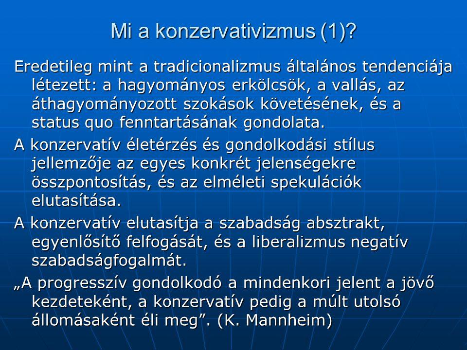 Mi a konzervativizmus (1)? Eredetileg mint a tradicionalizmus általános tendenciája létezett: a hagyományos erkölcsök, a vallás, az áthagyományozott s
