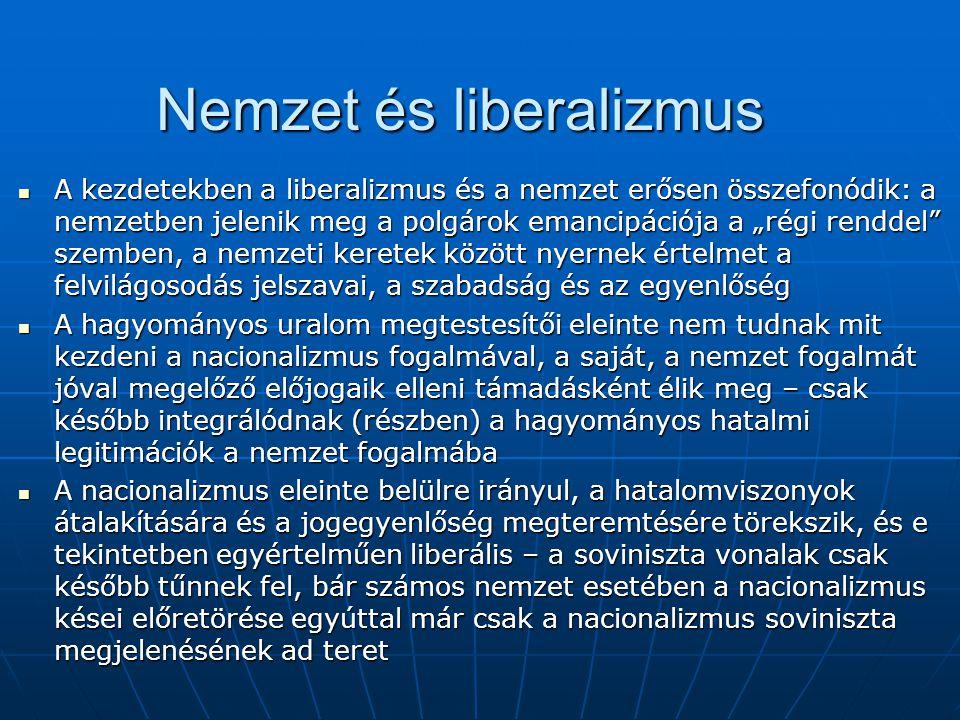 """Nemzet és liberalizmus A kezdetekben a liberalizmus és a nemzet erősen összefonódik: a nemzetben jelenik meg a polgárok emancipációja a """"régi renddel"""""""