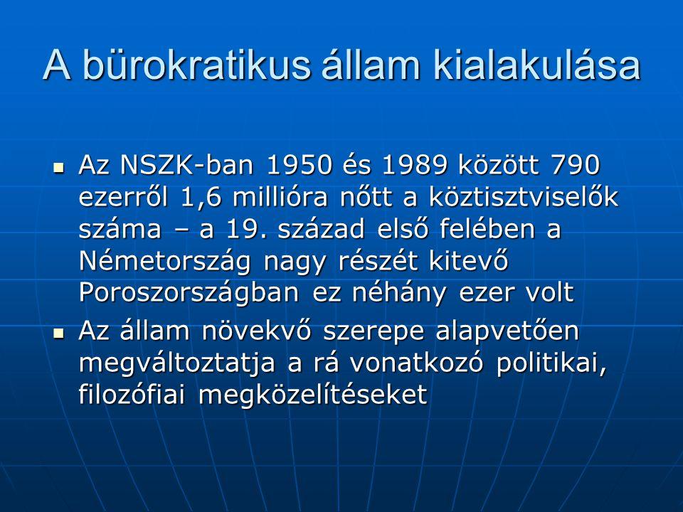 A bürokratikus állam kialakulása Az NSZK-ban 1950 és 1989 között 790 ezerről 1,6 millióra nőtt a köztisztviselők száma – a 19. század első felében a N