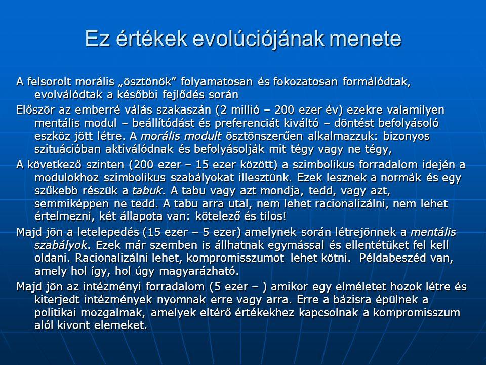 """Ez értékek evolúciójának menete A felsorolt morális """"ösztönök"""" folyamatosan és fokozatosan formálódtak, evolválódtak a későbbi fejlődés során Először"""