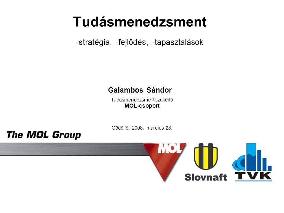Tudásmenedzsment -stratégia, -fejlődés, -tapasztalások Galambos Sándor Gödöllő, 2008. március 28. Tudásmenedzsment szakértő MOL-csoport