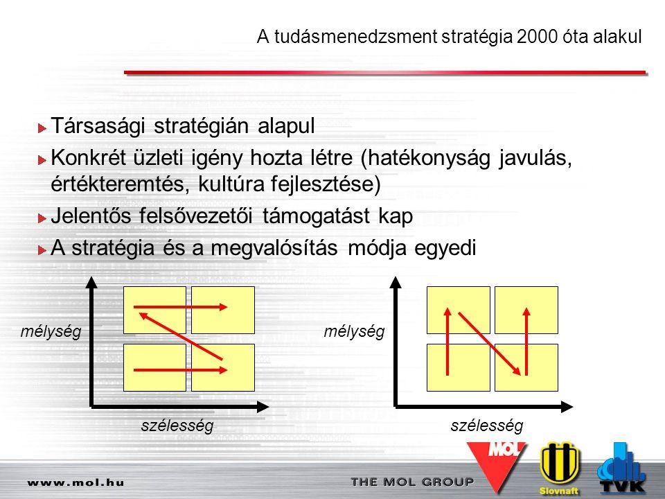 A tudásmenedzsment stratégia 2000 óta alakul Társasági stratégián alapul Konkrét üzleti igény hozta létre (hatékonyság javulás, értékteremtés, kultúra