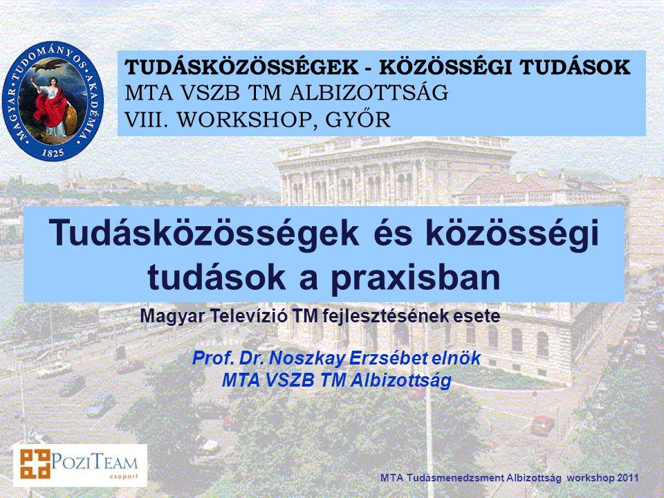 MTA Tudásmenedzsment Albizottság workshop 2011 Prof.
