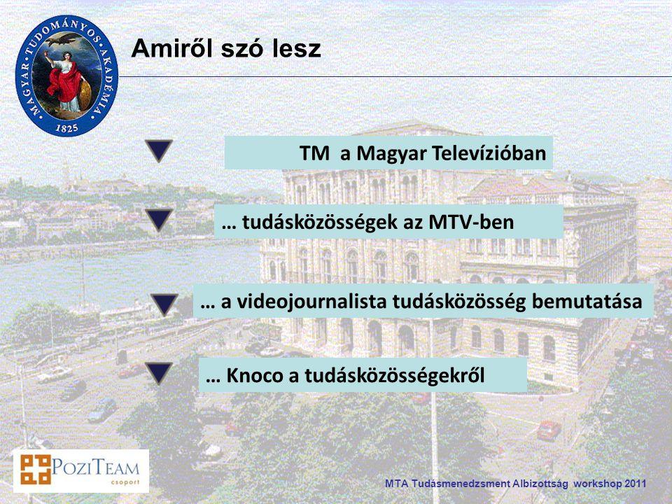 MTA Tudásmenedzsment Albizottság workshop 2011 … tudásközösségek az MTV-ben … a videojournalista tudásközösség bemutatása … Knoco a tudásközösségekről Amiről szó lesz TM a Magyar Televízióban