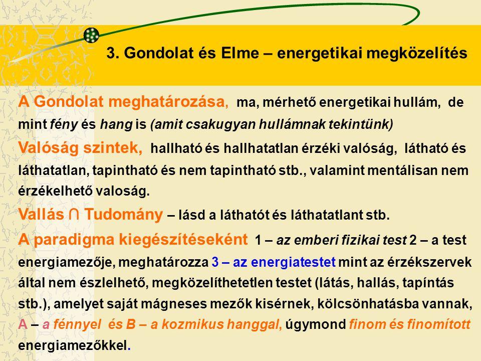 3. Gondolat és Elme – energetikai megközelítés A Gondolat meghatározása, ma, mérhető energetikai hullám, de mint fény és hang is (amit csakugyan hullá