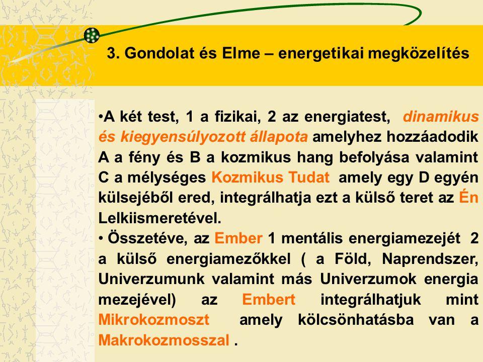 3. Gondolat és Elme – energetikai megközelítés A két test, 1 a fizikai, 2 az energiatest, dinamikus és kiegyensúlyozott állapota amelyhez hozzáadodik