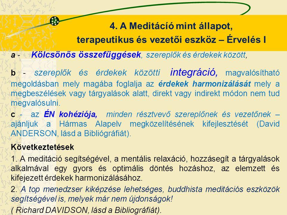 4. A Meditácíó mint állapot, terapeutikus és vezetői eszköz – Érvelés I a - Kölcsönős összefüggések, szereplők és érdekek között, b - szereplők és érd