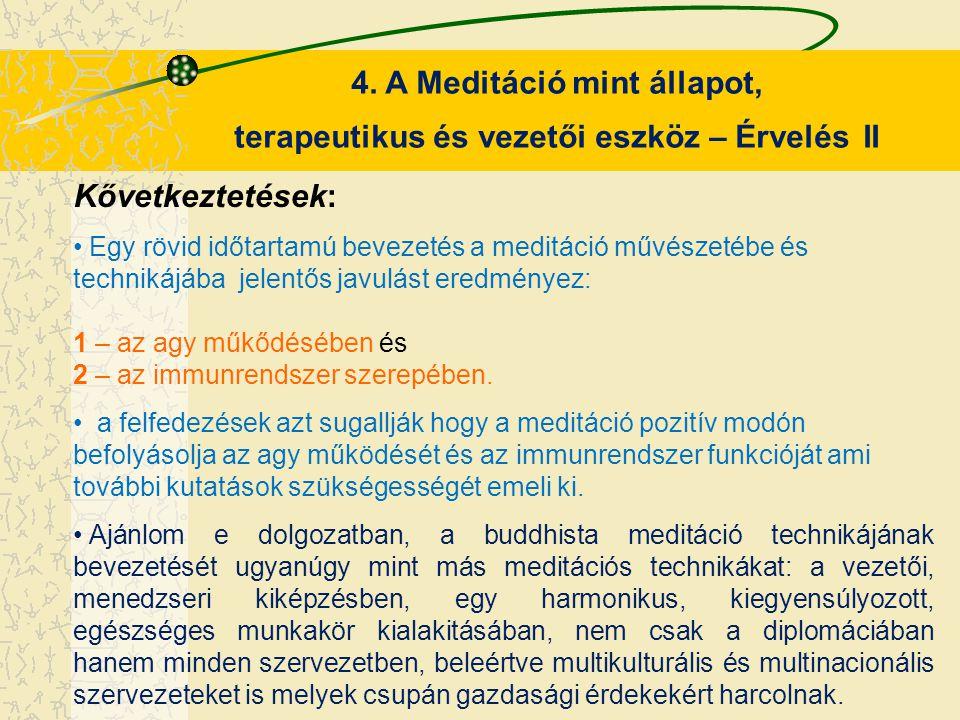 4. A Meditáció mint állapot, terapeutikus és vezetői eszköz – Érvelés II Kővetkeztetések: Egy rövid időtartamú bevezetés a meditáció művészetébe és te