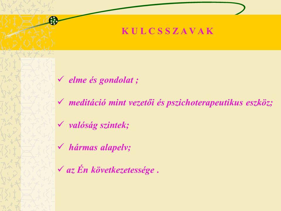 K U L C S S Z A V A K elme és gondolat ; meditáció mint vezetői és pszichoterapeutikus eszköz; valóság szintek; hármas alapelv; az Én következetessége