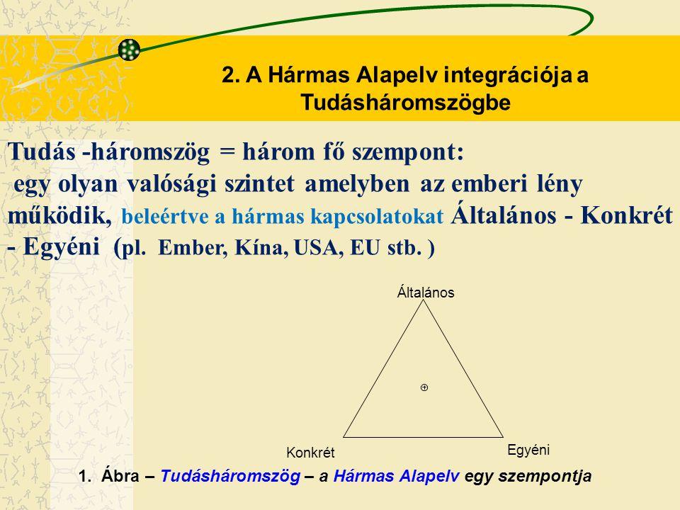 2. A Hármas Alapelv integrációja a Tudásháromszögbe Tudás -háromszög = három fő szempont: egy olyan valósági szintet amelyben az emberi lény működik,