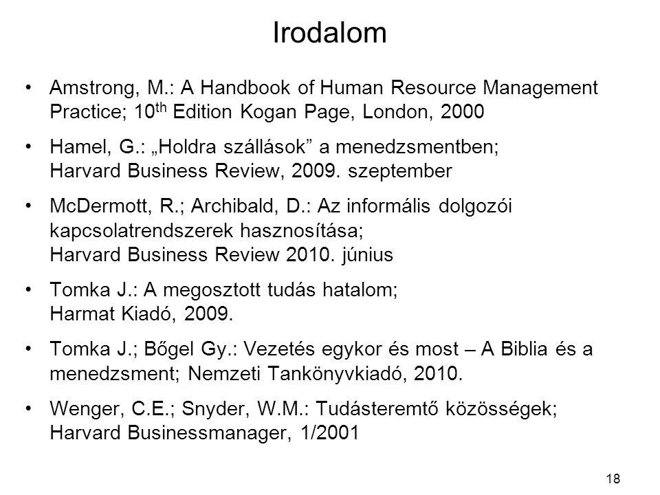 "Irodalom Amstrong, M.: A Handbook of Human Resource Management Practice; 10 th Edition Kogan Page, London, 2000 Hamel, G.: ""Holdra szállások"" a menedz"