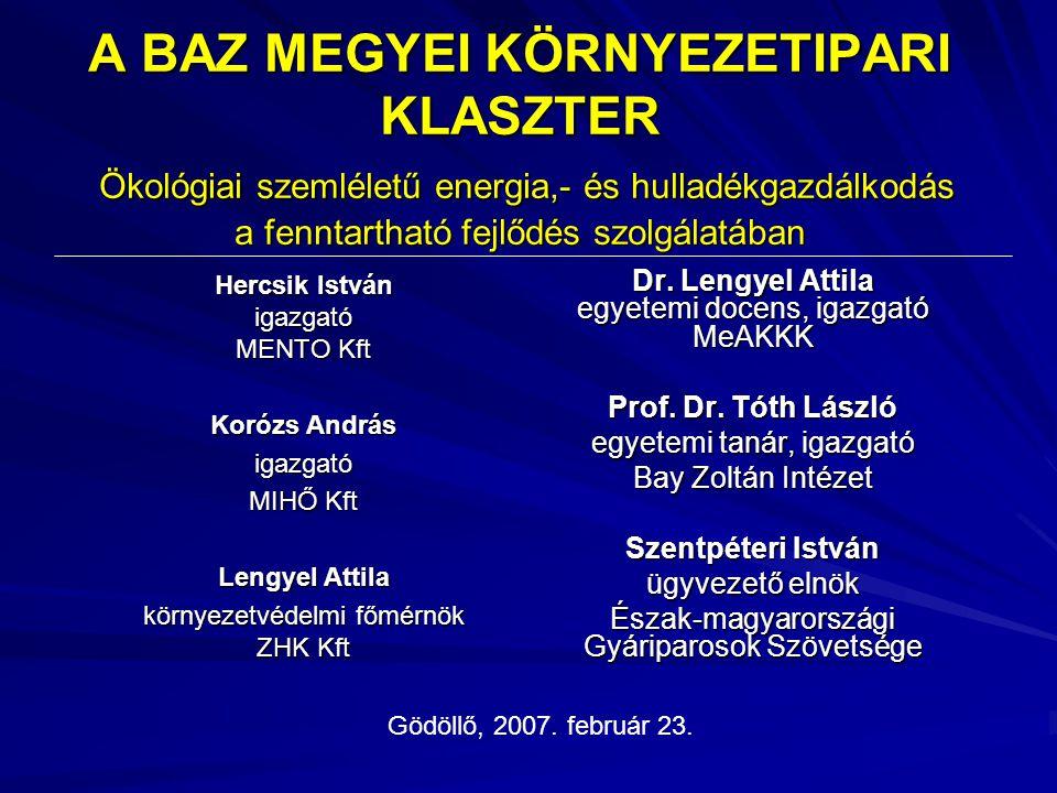 A BAZ MEGYEI KÖRNYEZETIPARI KLASZTER Ökológiai szemléletű energia,- és hulladékgazdálkodás a fenntartható fejlődés szolgálatában Dr. Lengyel Attila eg