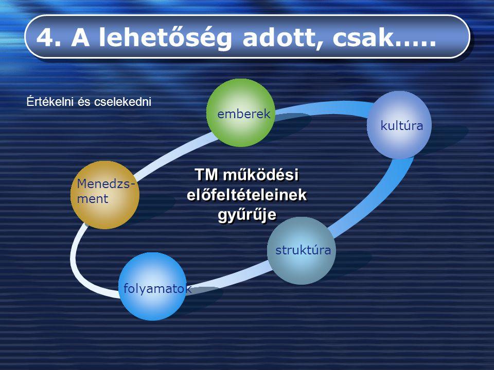 Menedzs- ment emberek kultúra struktúra folyamatok TM működési előfeltételeinek gyűrűje 4. A lehetőség adott, csak….. Értékelni és cselekedni