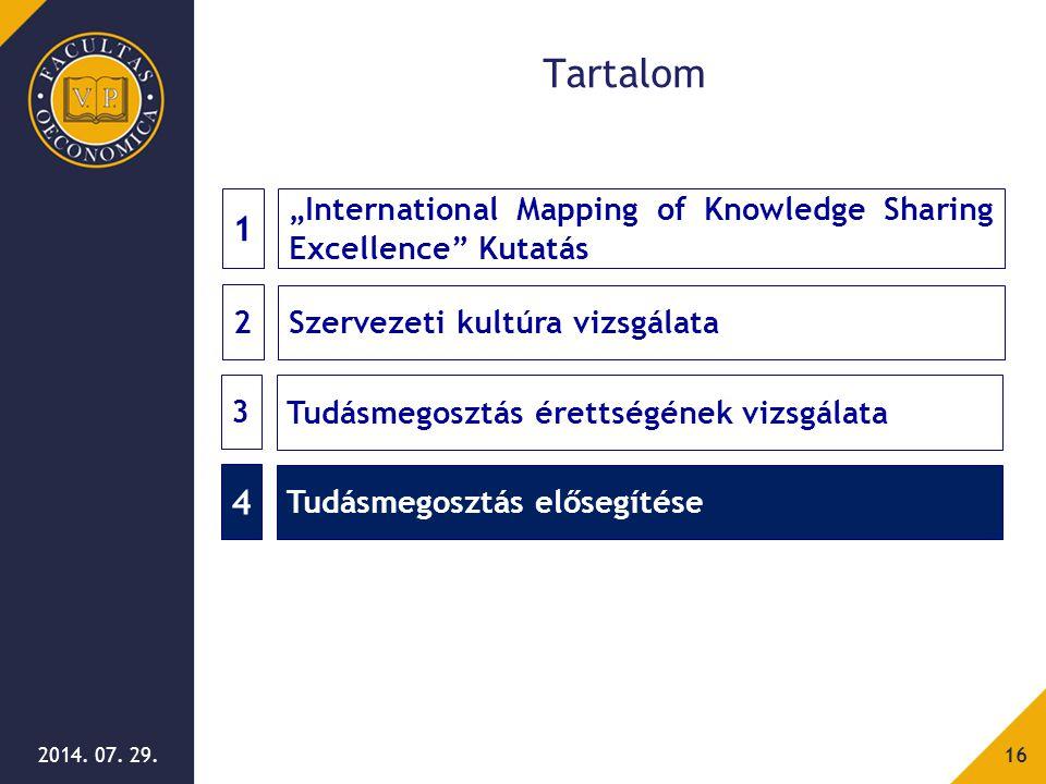 """2014. 07. 29.16 Tartalom 2 Szervezeti kultúra vizsgálata 1 """"International Mapping of Knowledge Sharing Excellence"""" Kutatás 3 Tudásmegosztás érettségén"""