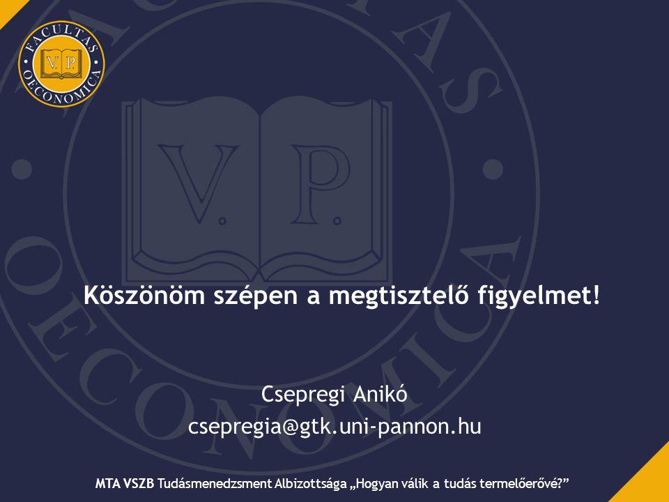 """Köszönöm szépen a megtisztelő figyelmet! Csepregi Anikó csepregia@gtk.uni-pannon.hu MTA VSZB Tudásmenedzsment Albizottsága """"Hogyan válik a tudás terme"""