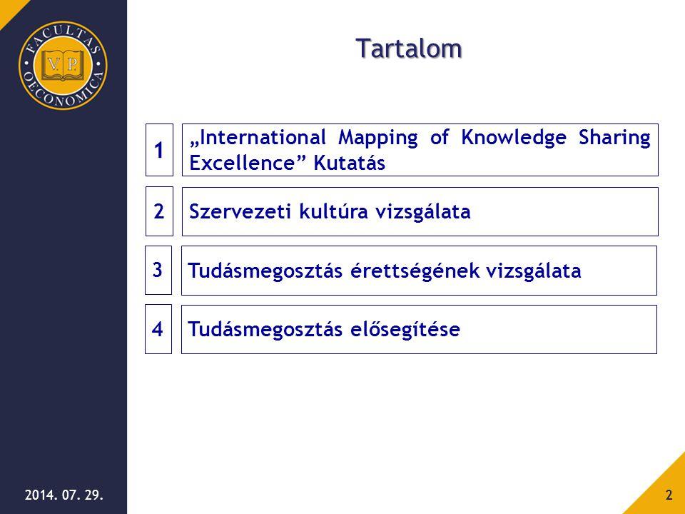 """2014. 07. 29.2 Tartalom 2 Szervezeti kultúra vizsgálata 1 """"International Mapping of Knowledge Sharing Excellence"""" Kutatás 3 Tudásmegosztás érettségéne"""