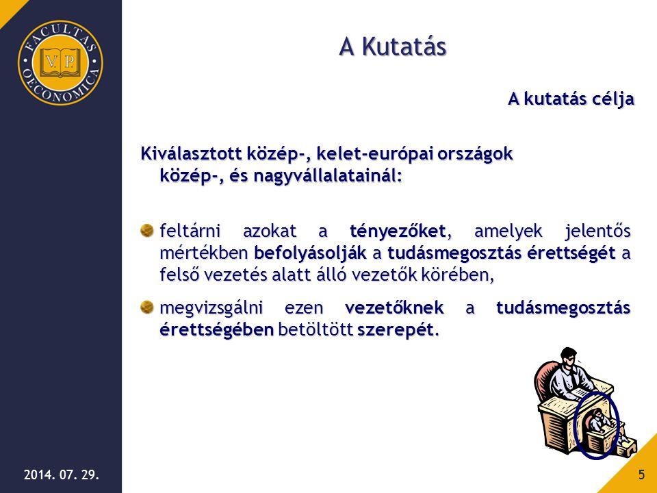 2014. 07. 29.5 A Kutatás Kiválasztott közép-, kelet-európai országok közép-, és nagyvállalatainál: feltárni azokat a tényezőket, amelyek jelentős mért