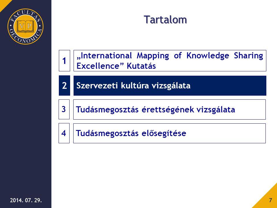 """2014. 07. 29.7 Tartalom 2 Szervezeti kultúra vizsgálata 1 """"International Mapping of Knowledge Sharing Excellence"""" Kutatás 3 Tudásmegosztás érettségéne"""