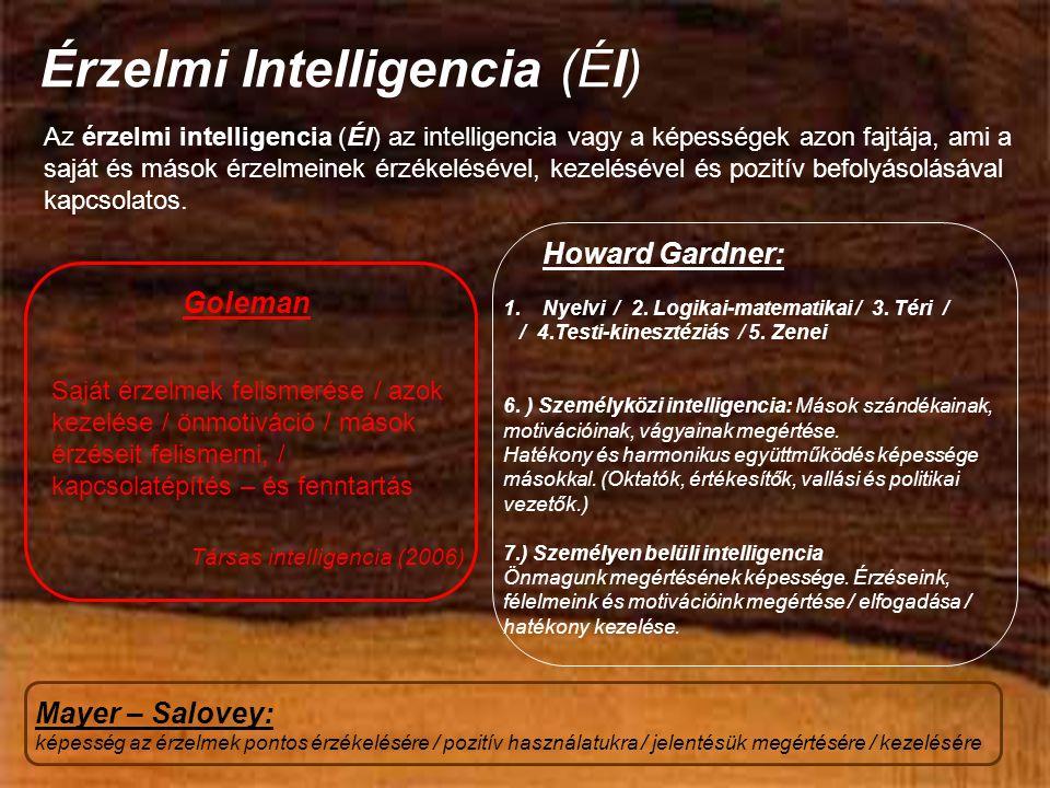 Érzelmi Intelligencia (ÉI) Az érzelmi intelligencia (ÉI) az intelligencia vagy a képességek azon fajtája, ami a saját és mások érzelmeinek érzékelésével, kezelésével és pozitív befolyásolásával kapcsolatos.