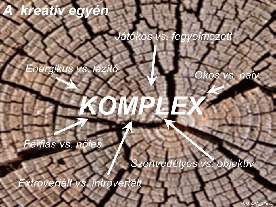 A kreatív egyén KOMPLEX © M. Szilágyi Eszter Energikus vs. lazító Extrovertált vs. introvertált Játékos vs. fegyelmezett Okos vs. naiv Férfias vs. női