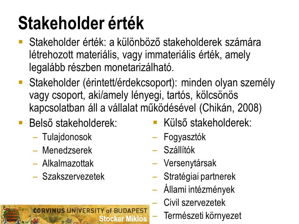 Stocker Miklós Stakeholder érték  Stakeholder érték: a különböző stakeholderek számára létrehozott materiális, vagy immateriális érték, amely legaláb