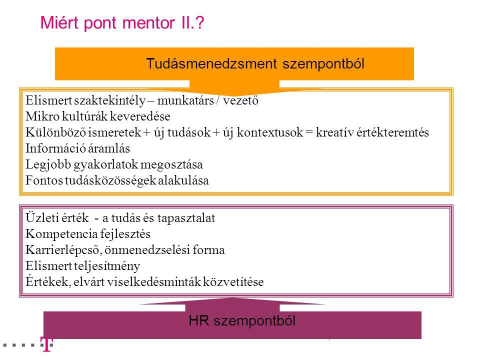 8 A jövő – mentori rendszer kialakítása Input: mentori készségek; mentoring technikák; szakmai-személyes célok; vezetői elvárások; szervezeti és szakmai érték-, normarendszer; releváns információk a mentoráltról MENTOR KIVÁLASZTÁSA MENTORI TRÉ-NING MENTORÁLT SZERZŐDÉS, CÉLOK KÖZÖS MEGHATÁROZÁSA VEZETŐI CÉL FOLYAMAT, HELYZETBE- HOZÁS ÉRTÉ-KE-LÉS, VISSZAJELZÉS, HATÁSVIZS- GÁLAT EGYÉNI PÁLYA ÍV FOLYTATÁS Output: személyes értékelés a mentorált teljesítményéről, készségeiről, lehetséges karrierlépésről, irányról, alkalmasságról, esetleges további fejlesztési célokról; a mentor tevékenységéről, a tevékenység hatásáról MÁSODLAGOS HATÁSOK: MENTOROK KÖZÖTTI TUDÁSMEGOSZTÁS, INFOÁRAMLÁS