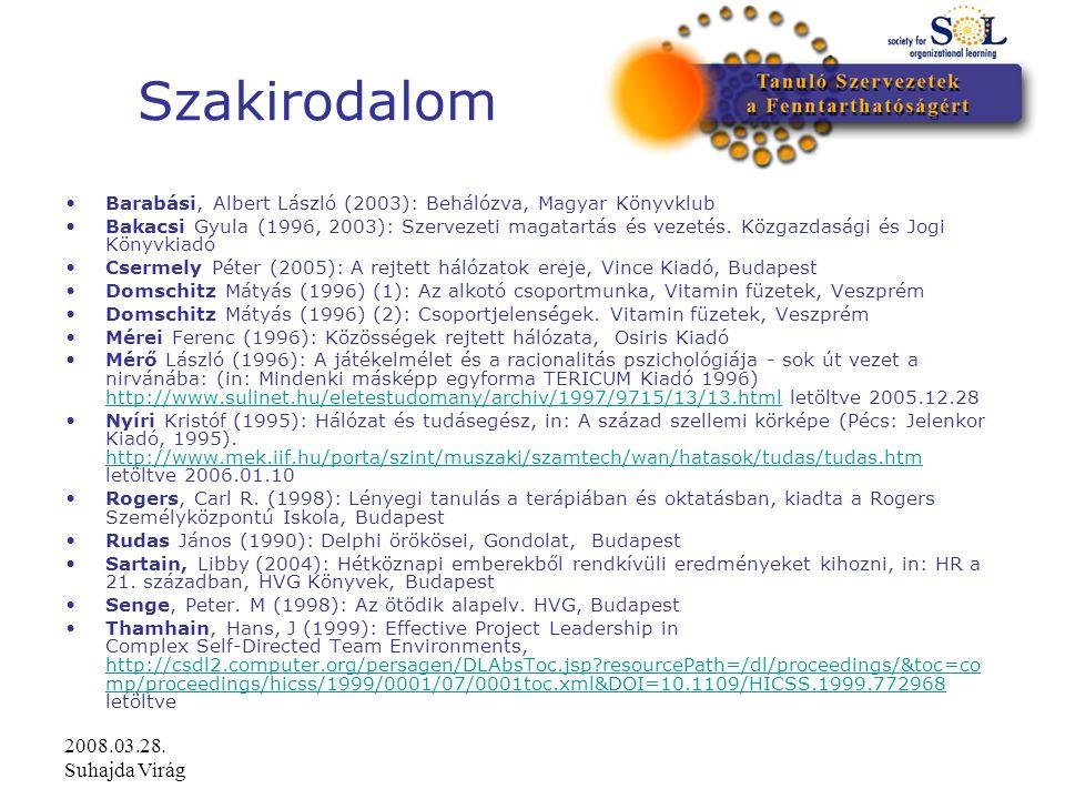2008.03.28. Suhajda Virág Szakirodalom Barabási, Albert László (2003): Behálózva, Magyar Könyvklub Bakacsi Gyula (1996, 2003): Szervezeti magatartás é