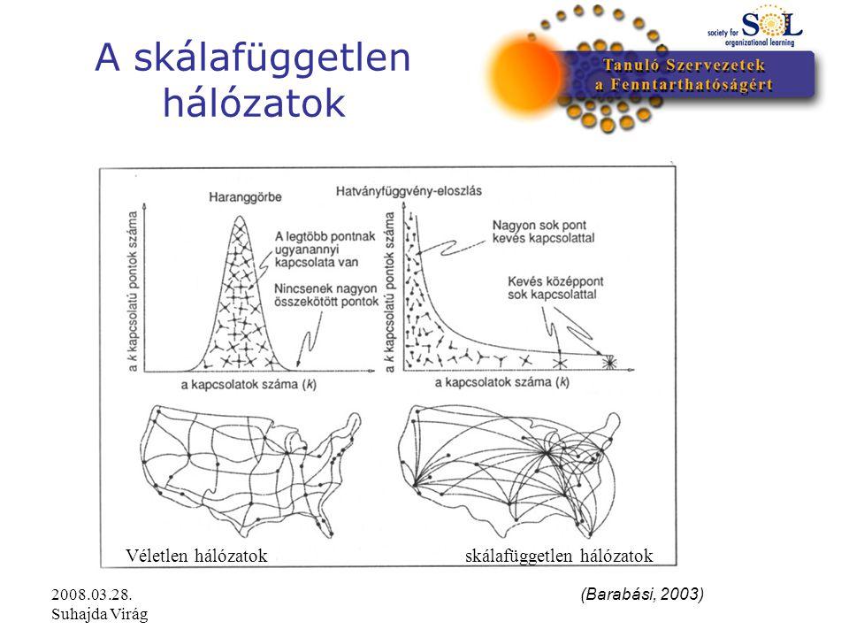 2008.03.28. Suhajda Virág A skálafüggetlen hálózatok (Barabási, 2003) Véletlen hálózatokskálafüggetlen hálózatok