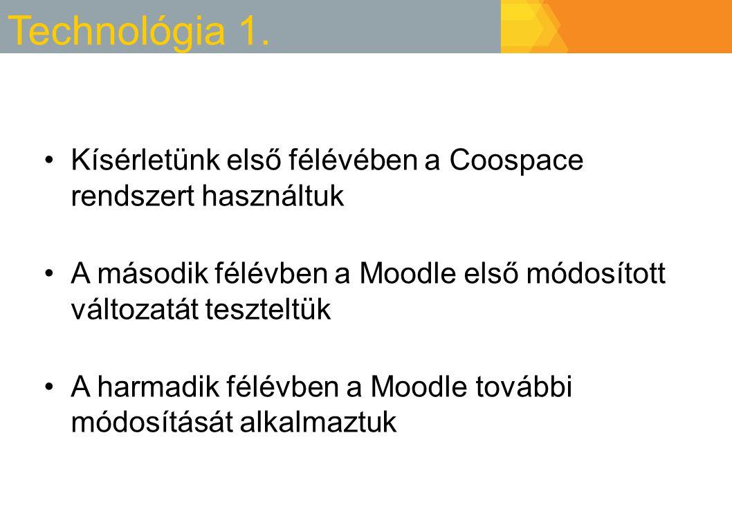 Technológia 1. Kísérletünk első félévében a Coospace rendszert használtuk A második félévben a Moodle első módosított változatát teszteltük A harmadik