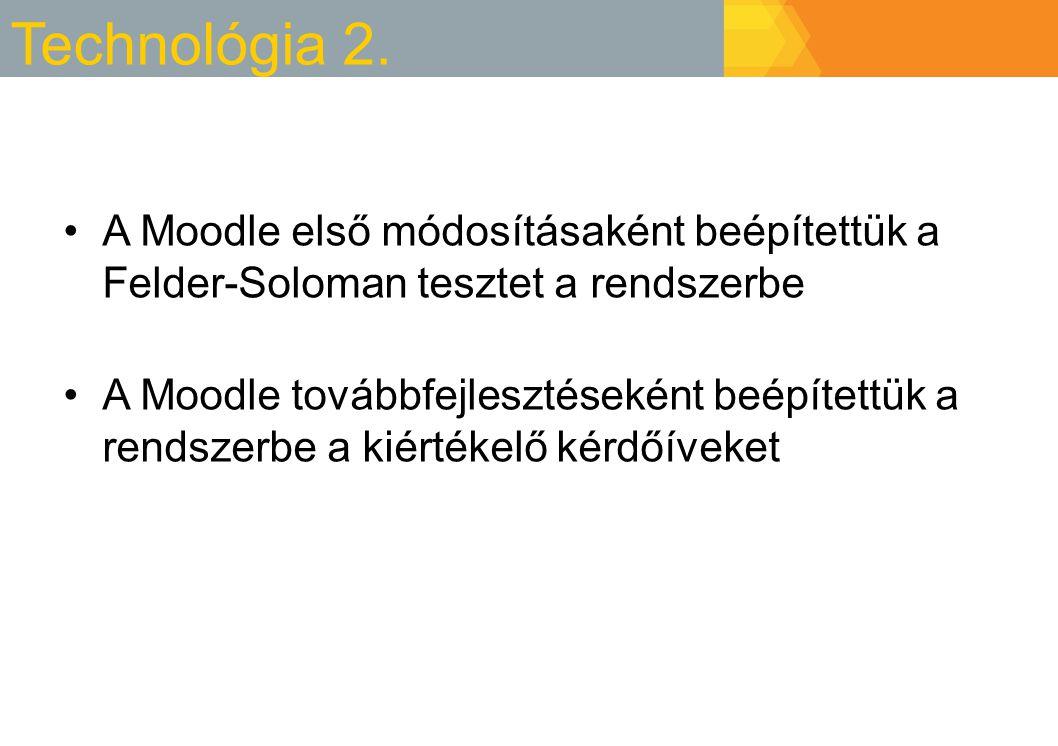 Technológia 2. A Moodle első módosításaként beépítettük a Felder-Soloman tesztet a rendszerbe A Moodle továbbfejlesztéseként beépítettük a rendszerbe