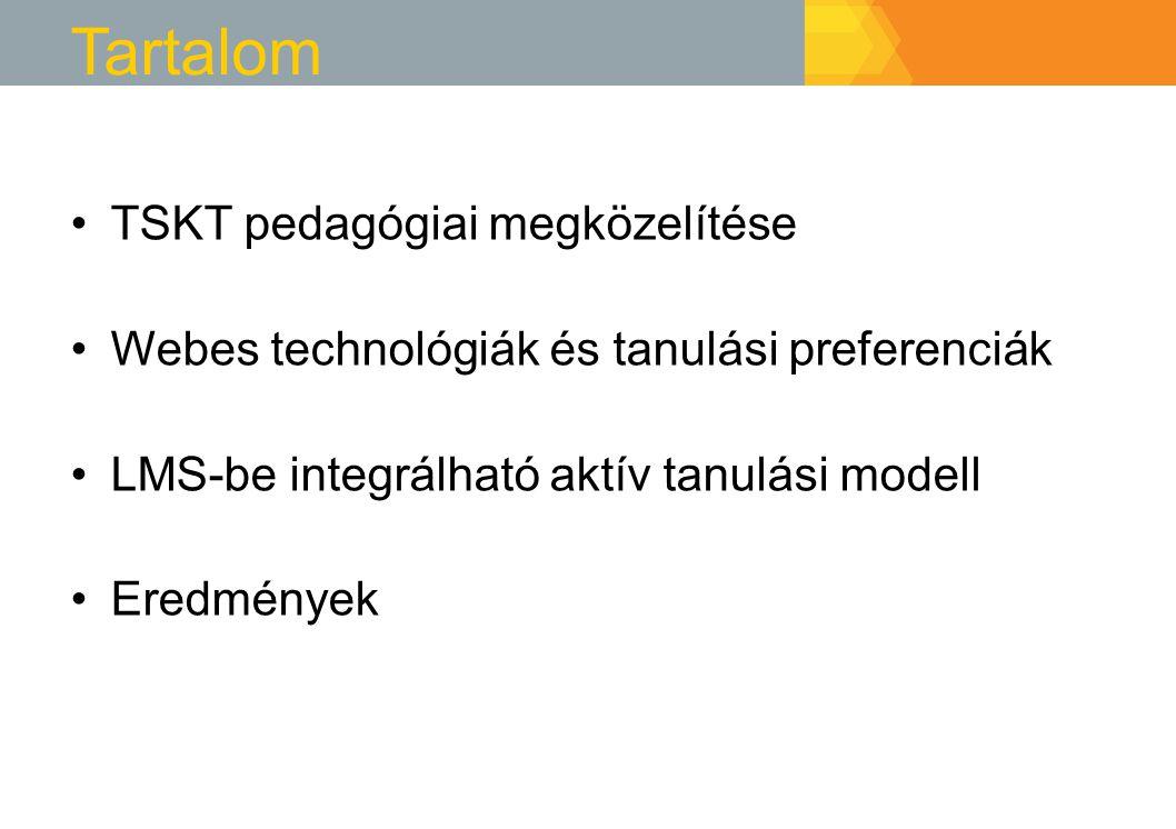 Tartalom TSKT pedagógiai megközelítése Webes technológiák és tanulási preferenciák LMS-be integrálható aktív tanulási modell Eredmények