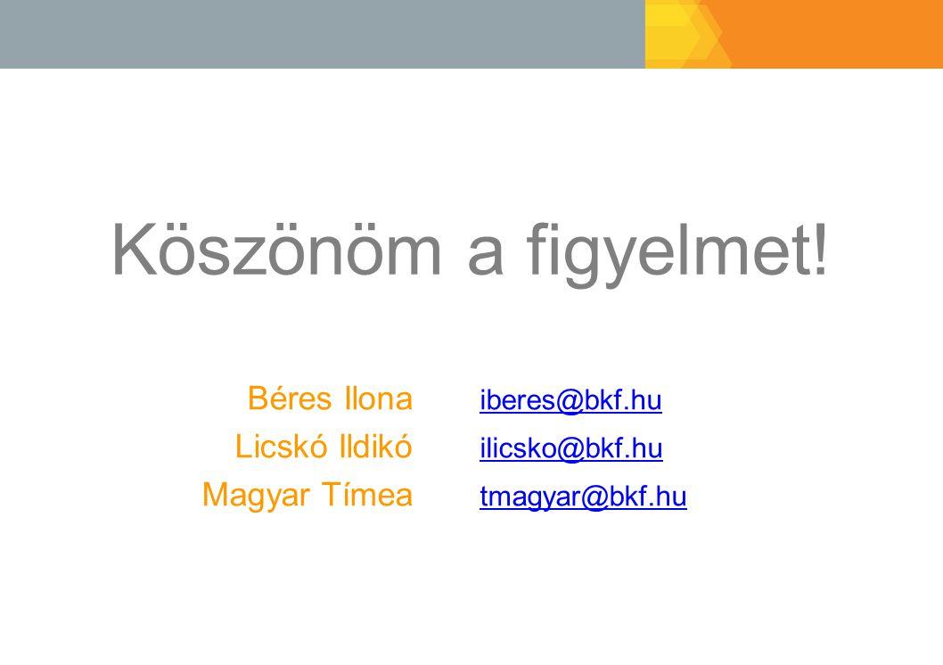 Köszönöm a figyelmet! Béres Ilona iberes@bkf.hu iberes@bkf.hu Licskó Ildikó ilicsko@bkf.hu ilicsko@bkf.hu Magyar Tímea tmagyar@bkf.hu tmagyar@bkf.hu