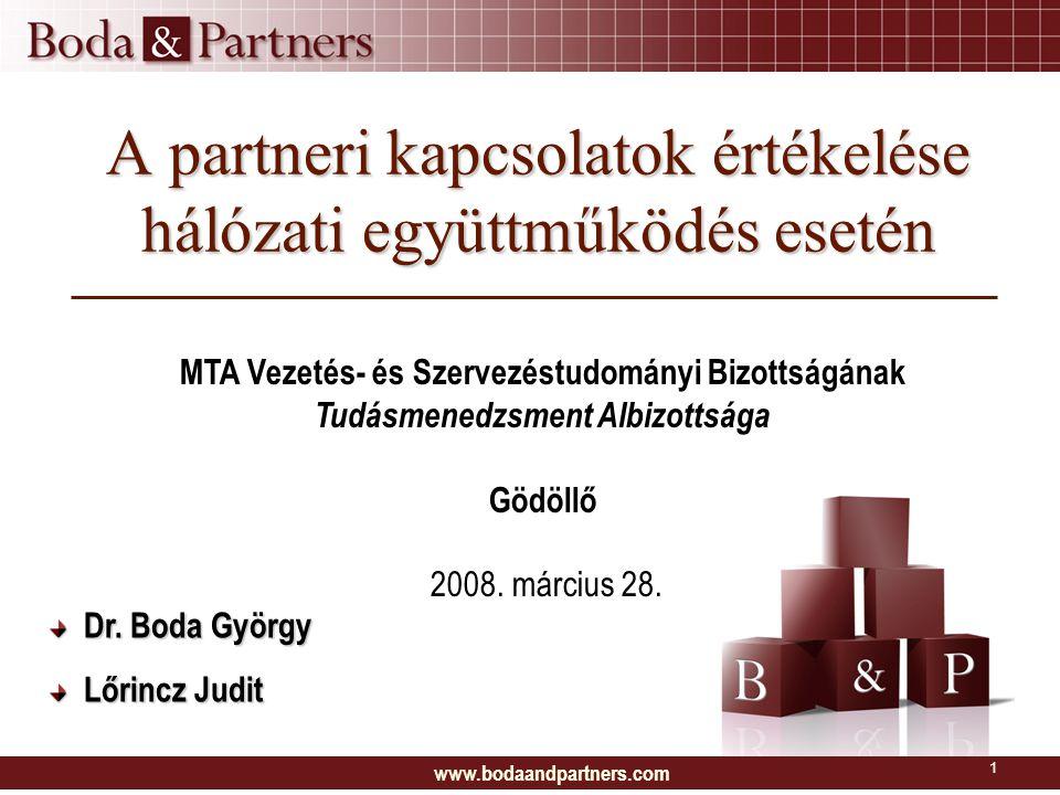 www.bodaandpartners.com 1 A partneri kapcsolatok értékelése hálózati együttműködés esetén MTA Vezetés- és Szervezéstudományi Bizottságának Tudásmenedz