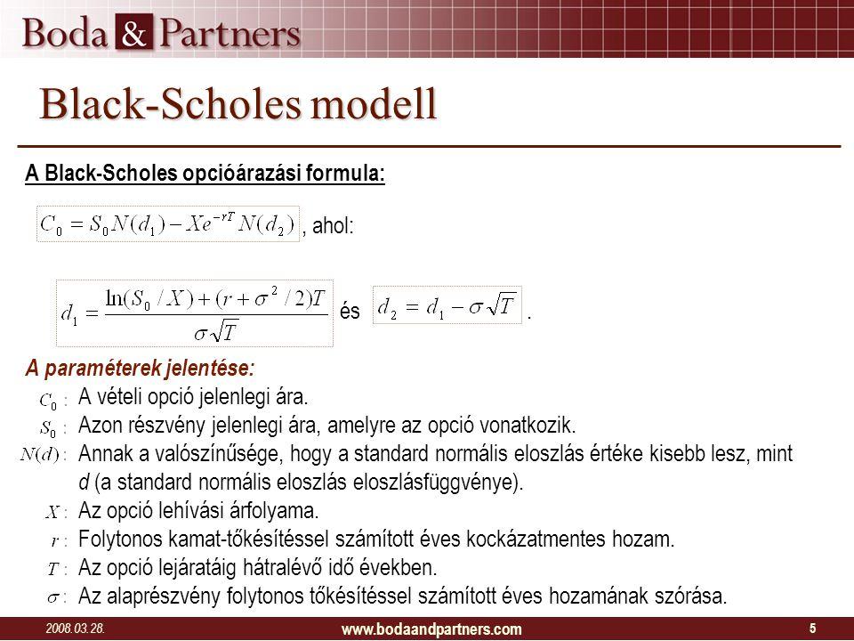 2008.03.28. www.bodaandpartners.com 5 Black-Scholes modell A Black-Scholes opcióárazási formula:, ahol: és. A paraméterek jelentése: A vételi opció je