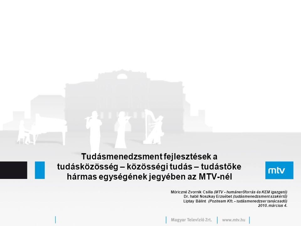 Tudásmenedzsment fejlesztések a tudásközösség – közösségi tudás – tudástőke hármas egységének jegyében az MTV-nél Móriczné Zvornik Csilla (MTV - humán