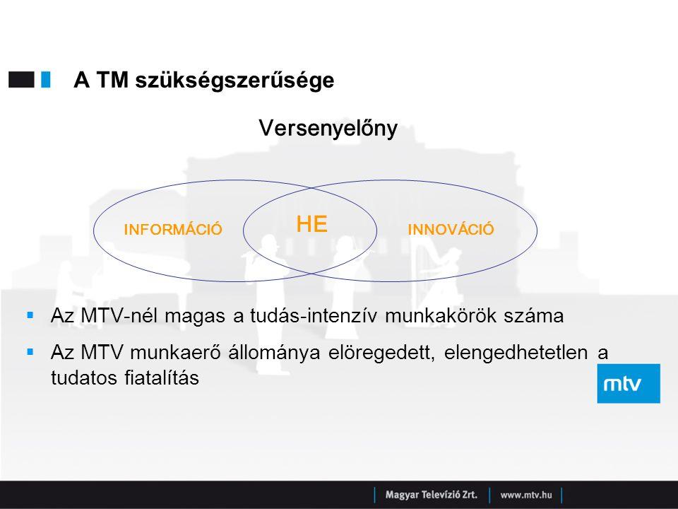 A TM szükségszerűsége  Az MTV-nél magas a tudás-intenzív munkakörök száma  Az MTV munkaerő állománya elöregedett, elengedhetetlen a tudatos fiatalít