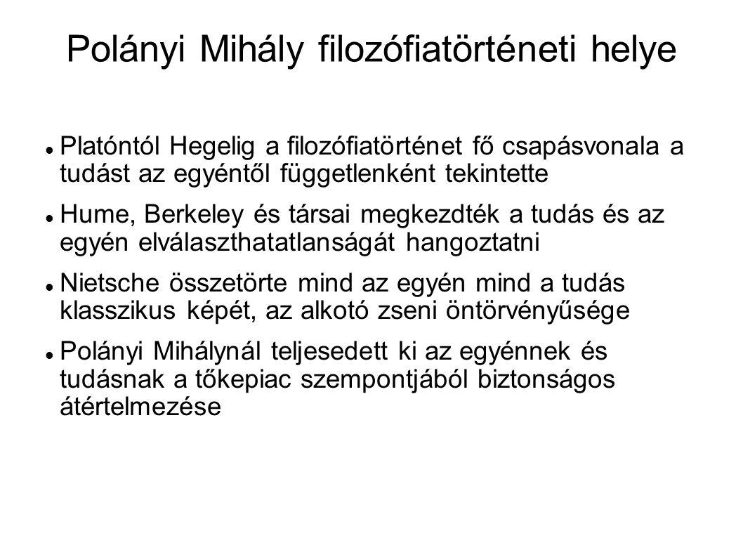 Polányi Mihály filozófiatörténeti helye Platóntól Hegelig a filozófiatörténet fő csapásvonala a tudást az egyéntől függetlenként tekintette Hume, Berk