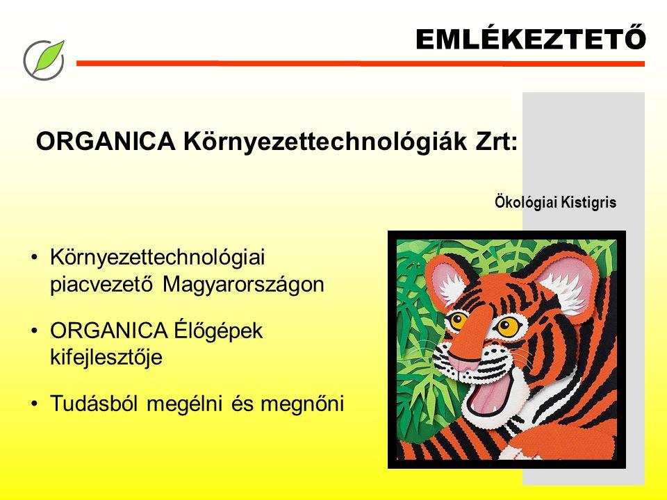 EMLÉKEZTETŐ Környezettechnológiai piacvezető Magyarországon ORGANICA Élőgépek kifejlesztője Tudásból megélni és megnőni ORGANICA Környezettechnológiák Zrt: Ökológiai Kistigris