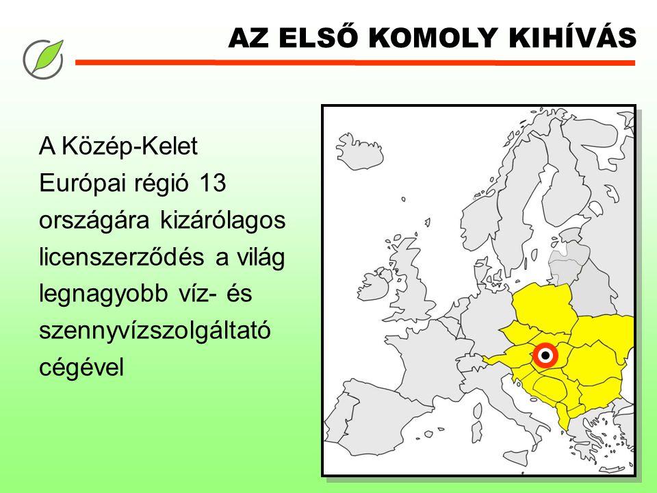 AZ ELSŐ KOMOLY KIHÍVÁS A Közép-Kelet Európai régió 13 országára kizárólagos licenszerződés a világ legnagyobb víz- és szennyvízszolgáltató cégével