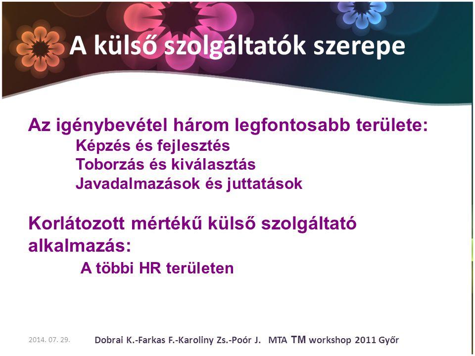 A külső szolgáltatók szerepe 2014. 07. 29. Dobrai K.-Farkas F.-Karoliny Zs.-Poór J.