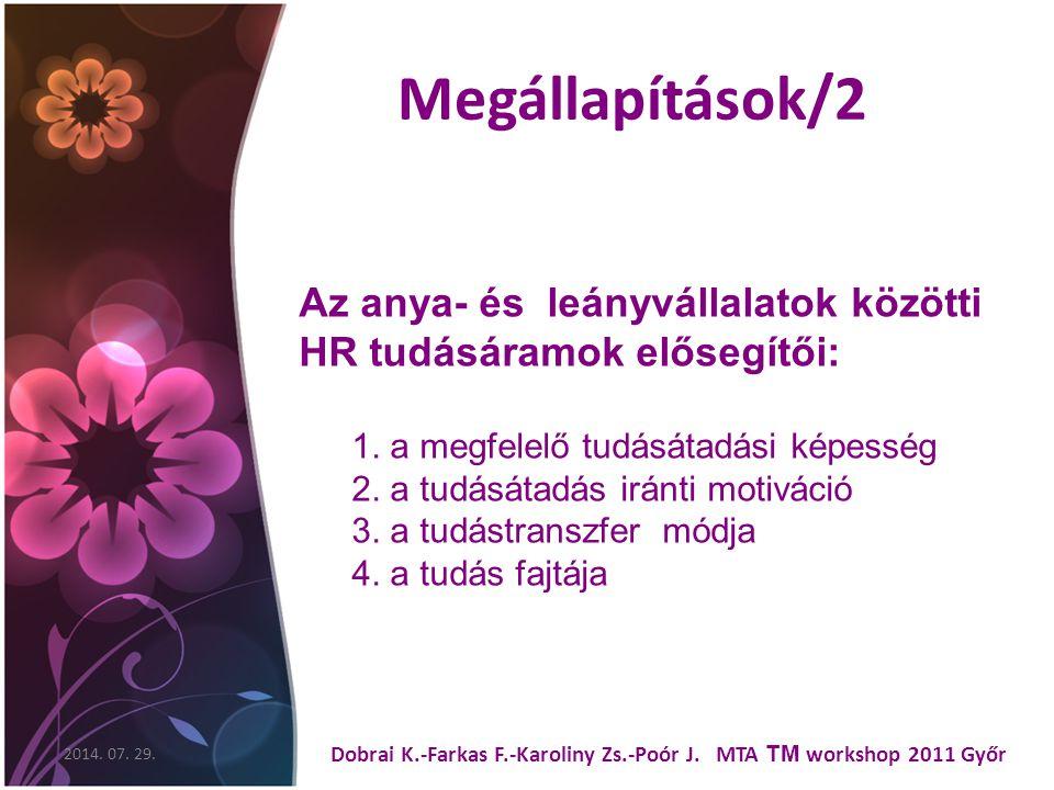 Megállapítások/2 2014. 07. 29. Dobrai K.-Farkas F.-Karoliny Zs.-Poór J.