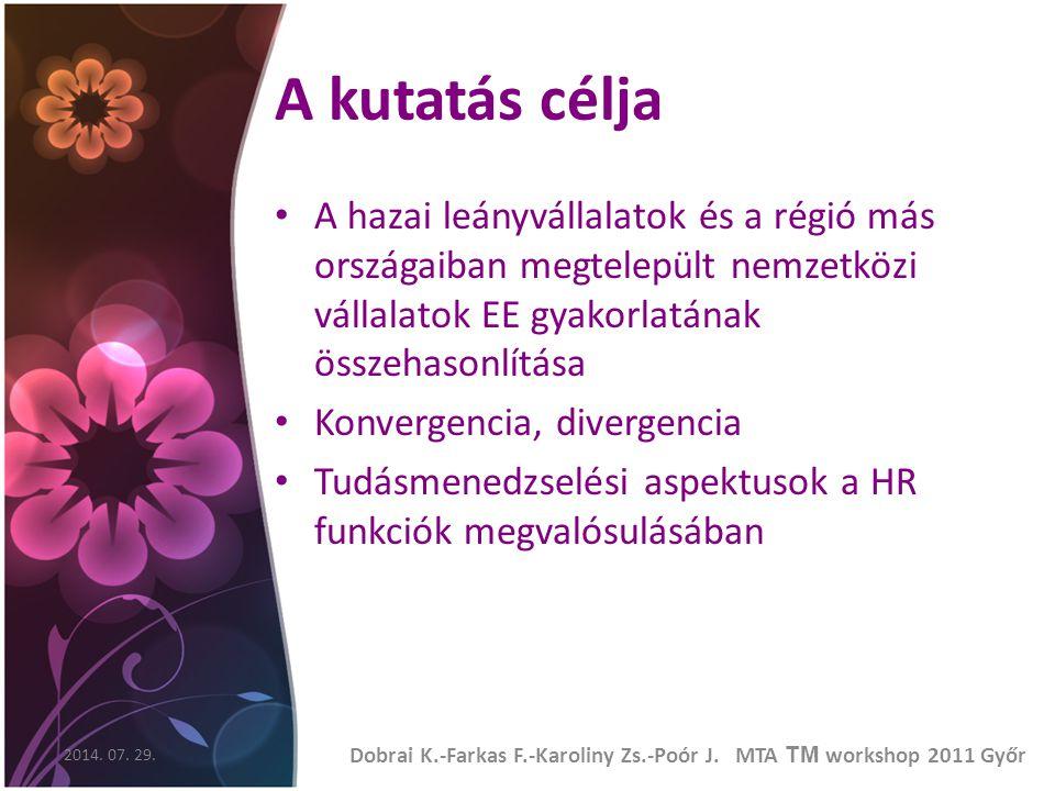 A kutatás célja A hazai leányvállalatok és a régió más országaiban megtelepült nemzetközi vállalatok EE gyakorlatának összehasonlítása Konvergencia, divergencia Tudásmenedzselési aspektusok a HR funkciók megvalósulásában 2014.
