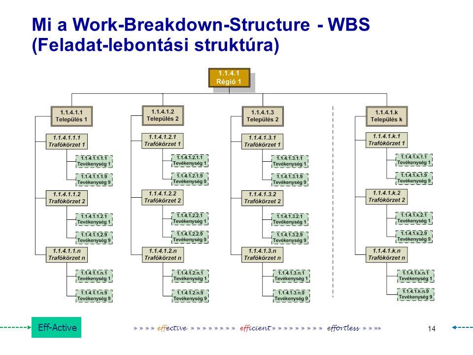 Eff-Active 14 » » » » effective » » » » » » » » efficient » » » » » » » » » effortless » » »» Mi a Work-Breakdown-Structure - WBS (Feladat-lebontási s